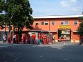 Ferrari workers in front of the factory entrance