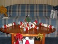 Christmas morning in our hotel room. Nice Tartan c