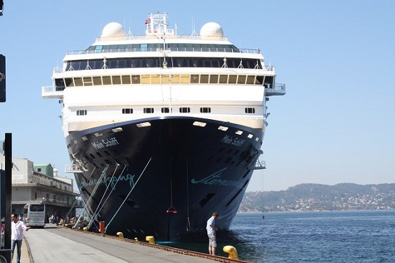 Big cruise ship in Bergen harbor